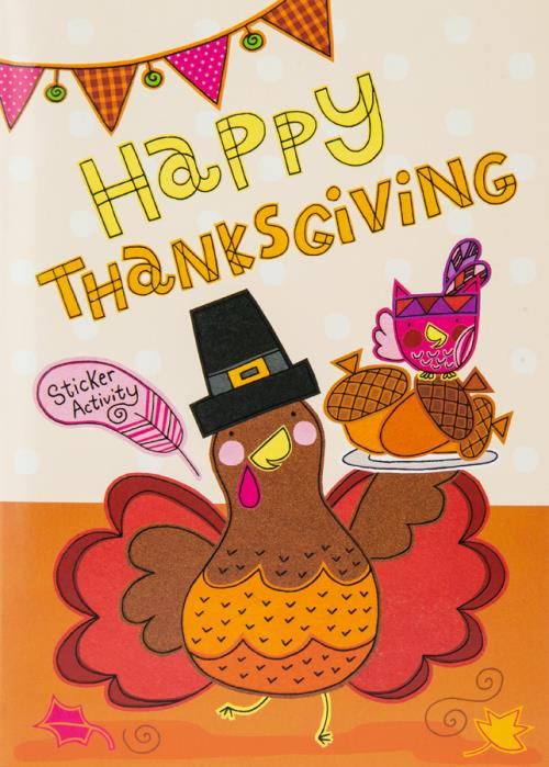 Happy Turkey With Leaves Card-ThkGive-Child